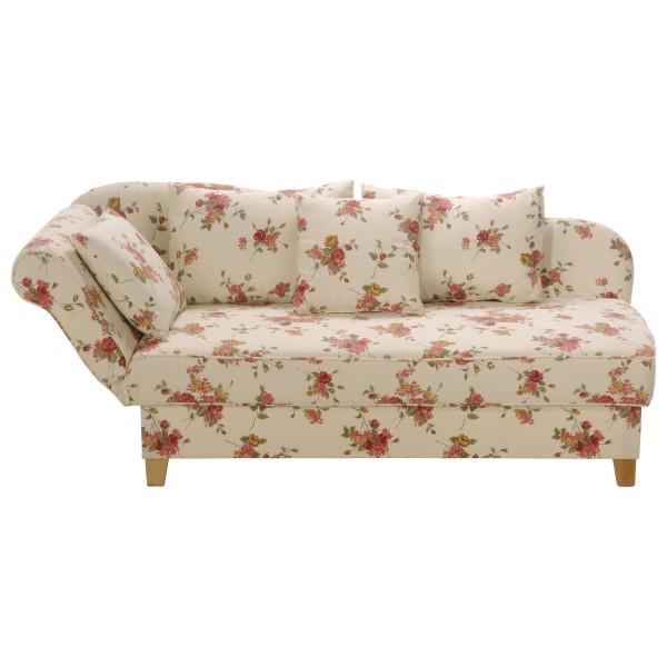 Recamiere Selma mit Armteil klappbar, links oder rechts Flachgewebe beige floral