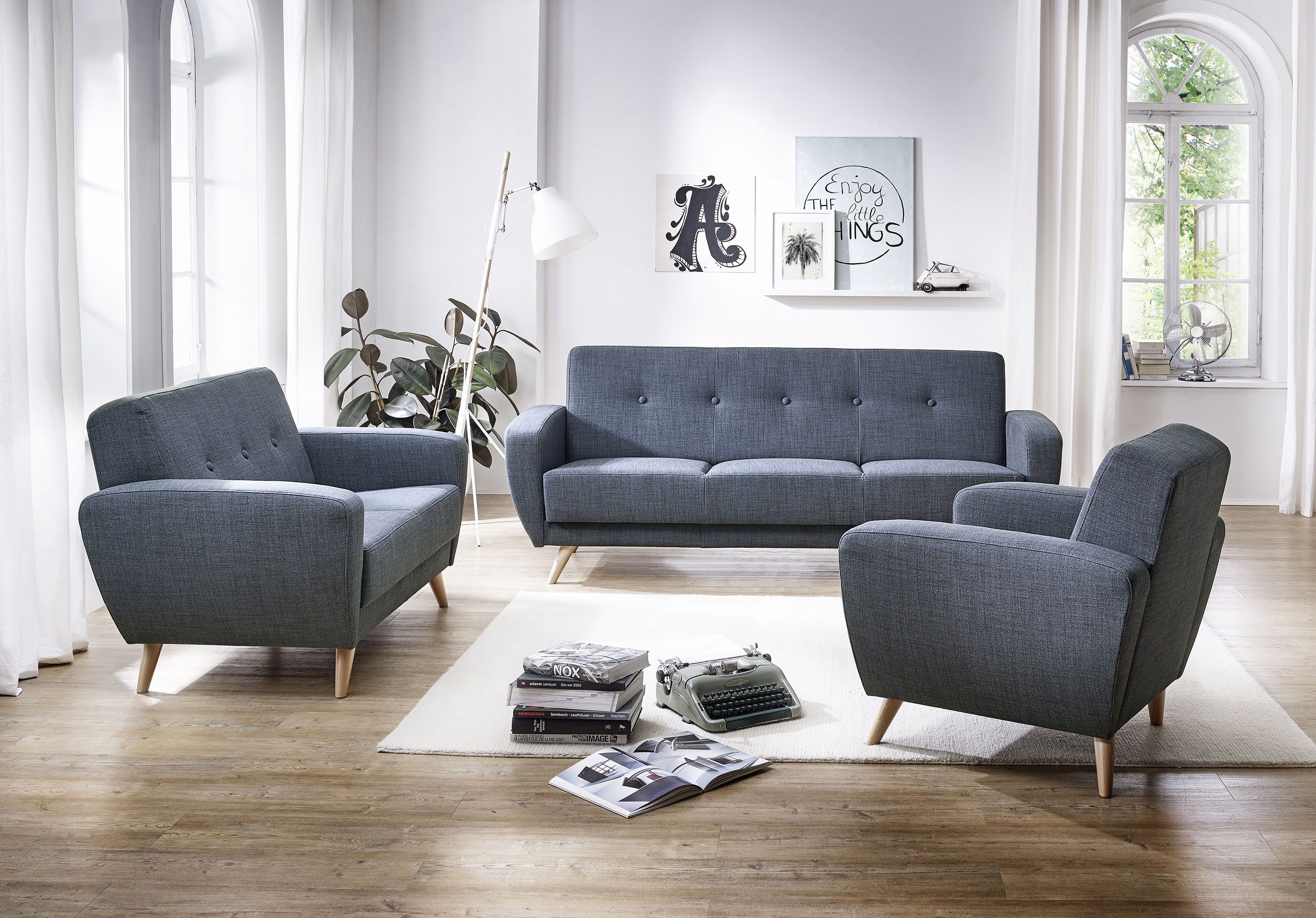 jerry sofa 3 sitzer mit bettfunktion flachgewebe. Black Bedroom Furniture Sets. Home Design Ideas