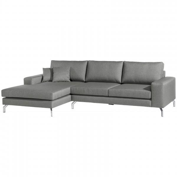Ecksofa Flori Flachgewebe mit Longchair wahlweise links oder rechts mit Sofa 2,5-Sitzer