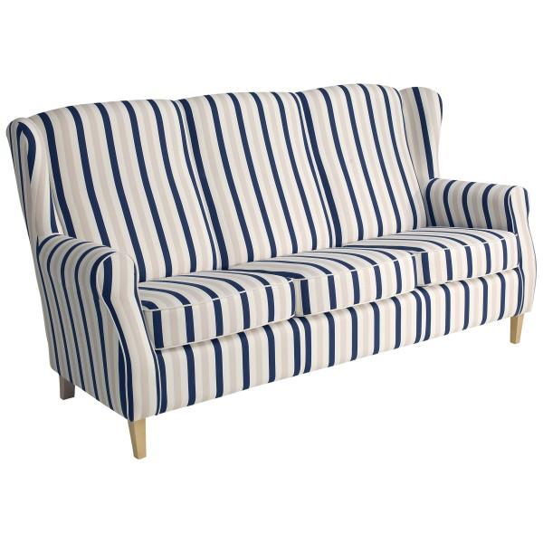 Sofa 3-Sitzer Lorris Flachgewebe gestreift