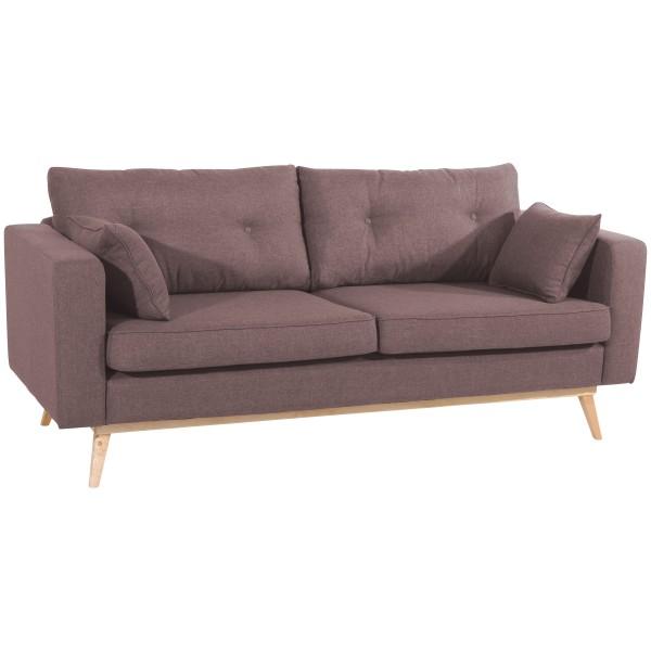 Sofa 3-Sitzer Tomme Flachgewebe Leinenoptik