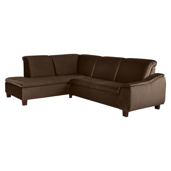 Ecksofa Aaron Samtvelours wahlweise links oder rechts mit Sofa 2,5-Sitzer