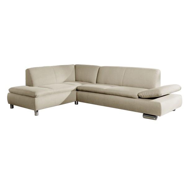 Ecksofa Terrence wahlweise links oder rechts mit Sofa 2,5-Sitzer Flachgewebe Leinenoptik