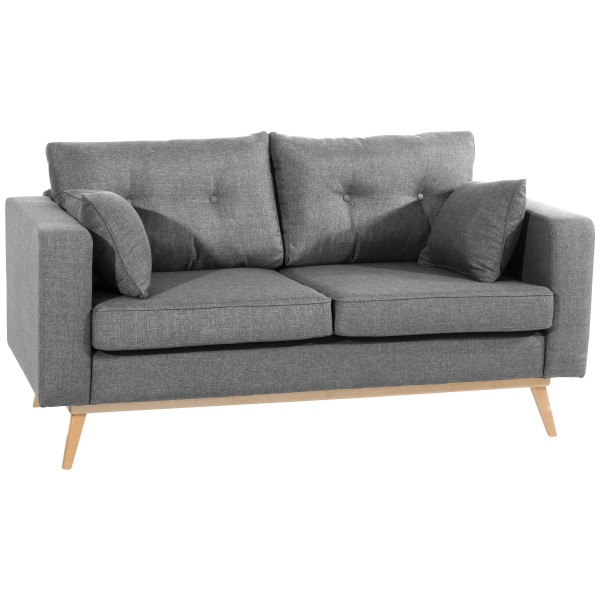 Sofa 2-Sitzer Tomme Flachgewebe Leinenoptik