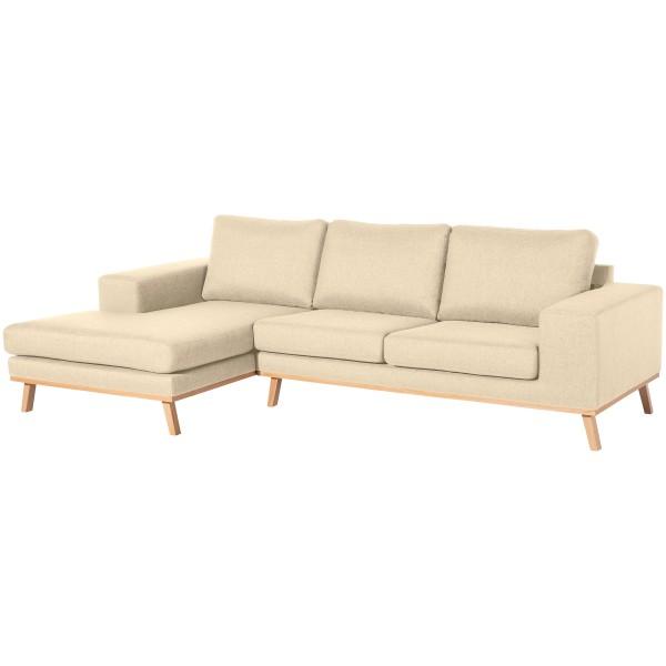 Sofa mit Longchair Alabama Flachgewebe wahlweise links oder rechts mit Sofa 2-Sitzer
