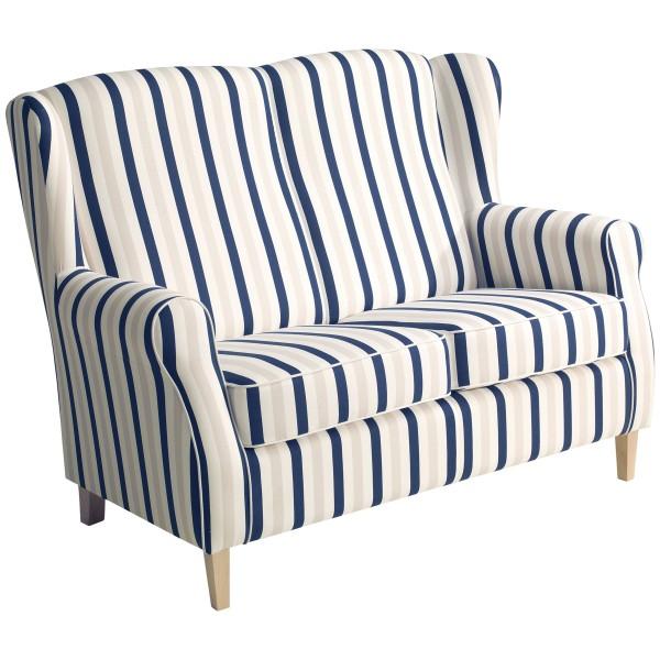 Sofa 2-Sitzer Lorris Flachgewebe gestreift
